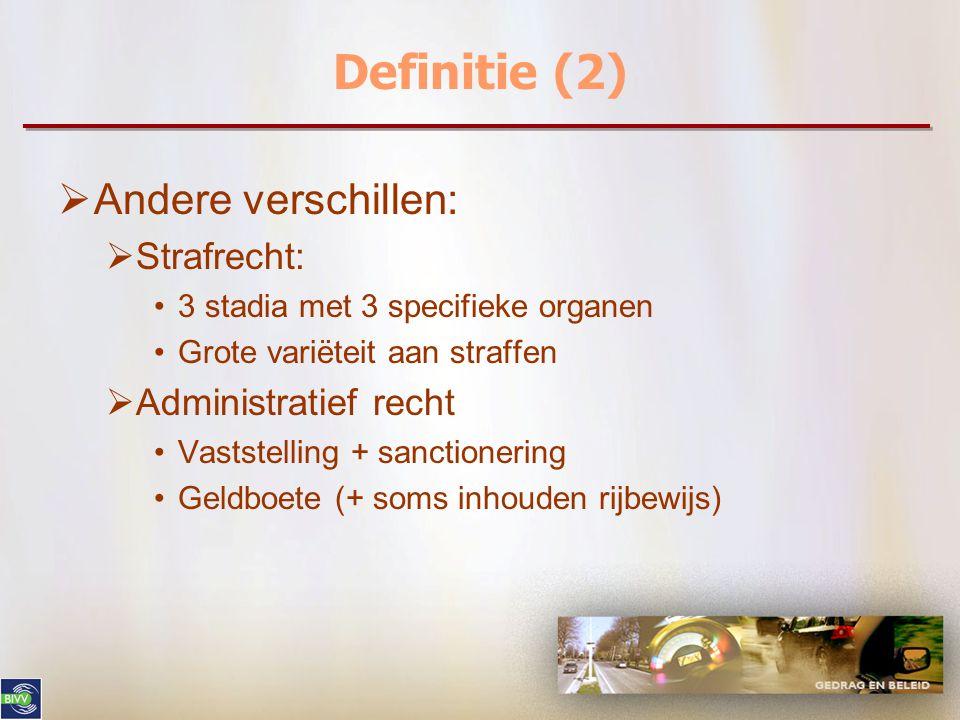 Definitie (2)  Andere verschillen:  Strafrecht: 3 stadia met 3 specifieke organen Grote variëteit aan straffen  Administratief recht Vaststelling + sanctionering Geldboete (+ soms inhouden rijbewijs)