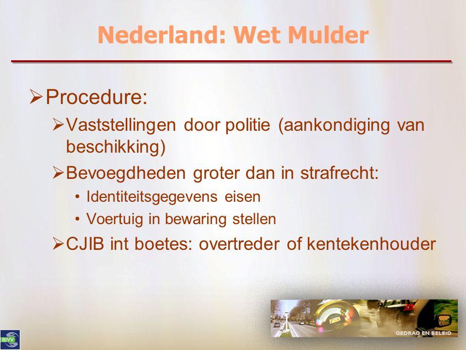 Nederland: Wet Mulder  Procedure:  Vaststellingen door politie (aankondiging van beschikking)  Bevoegdheden groter dan in strafrecht: Identiteitsgegevens eisen Voertuig in bewaring stellen  CJIB int boetes: overtreder of kentekenhouder