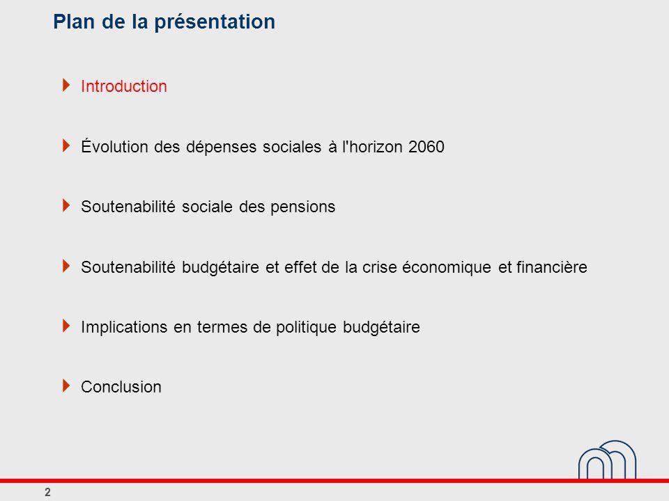Plan de la présentation  Introduction  Évolution des dépenses sociales à l horizon 2060  Soutenabilité sociale des pensions  Soutenabilité budgétaire et effet de la crise économique et financière  Implications en termes de politique budgétaire  Conclusion 13