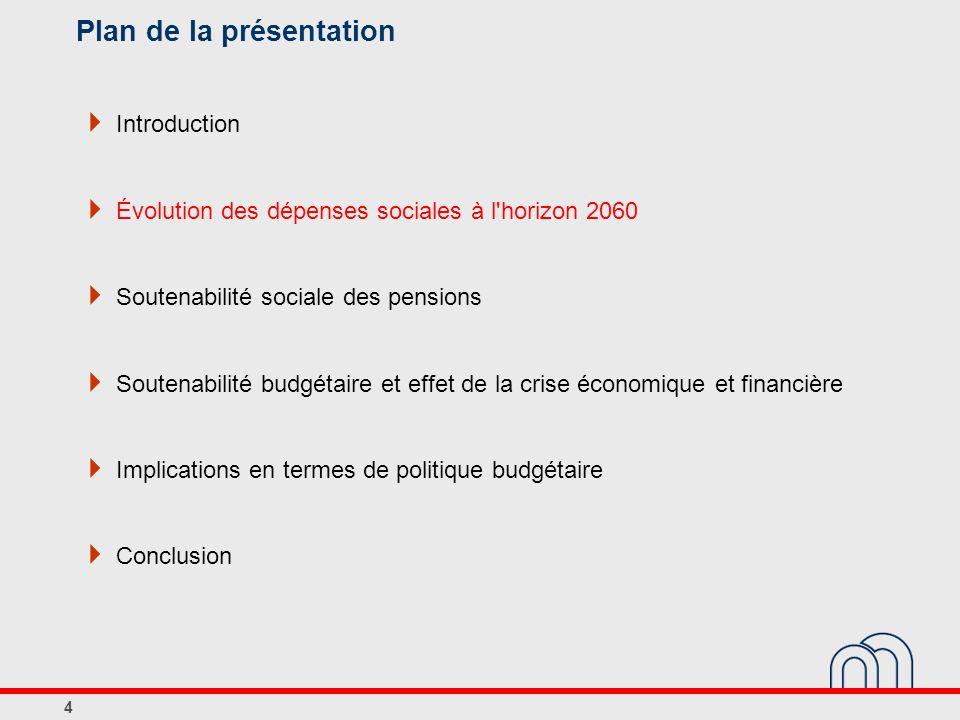 Plan de la présentation  Introduction  Évolution des dépenses sociales à l horizon 2060  Soutenabilité sociale des pensions  Soutenabilité budgétaire et effet de la crise économique et financière  Implications en termes de politique budgétaire  Conclusion 4