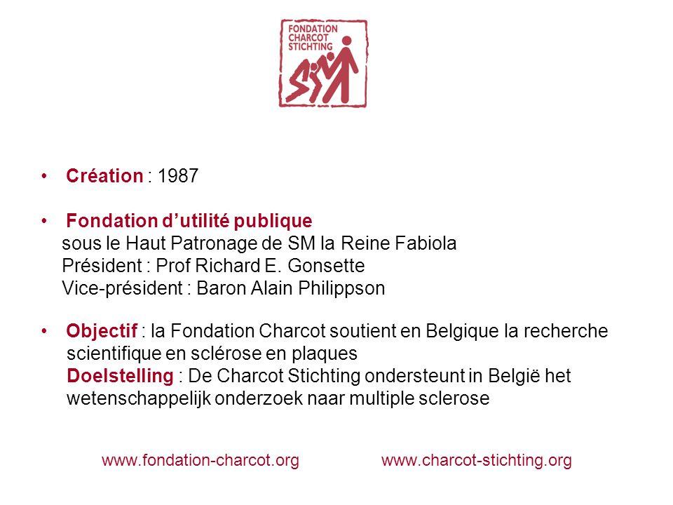 Création : 1987 Fondation d'utilité publique sous le Haut Patronage de SM la Reine Fabiola Président : Prof Richard E.