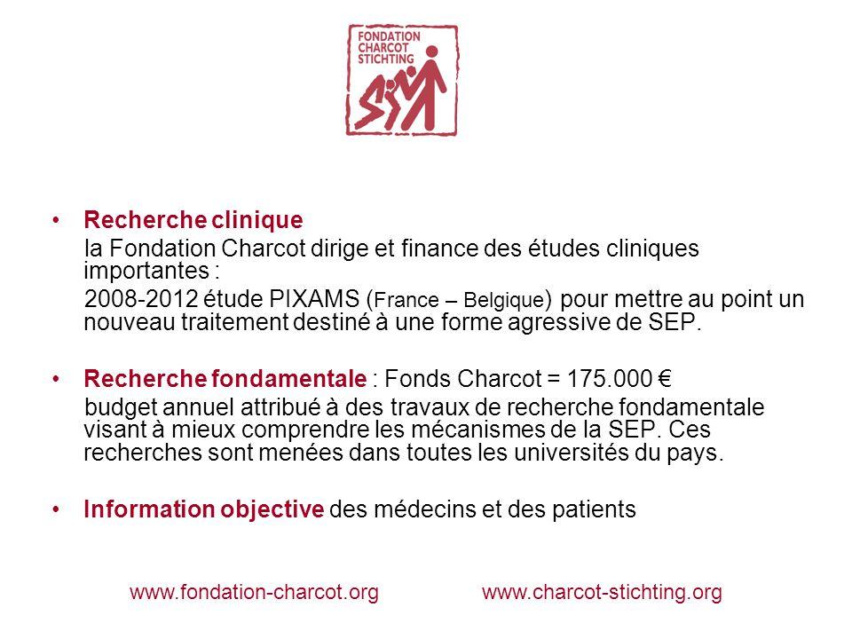 Recherche clinique la Fondation Charcot dirige et finance des études cliniques importantes : 2008-2012 étude PIXAMS ( France – Belgique ) pour mettre au point un nouveau traitement destiné à une forme agressive de SEP.