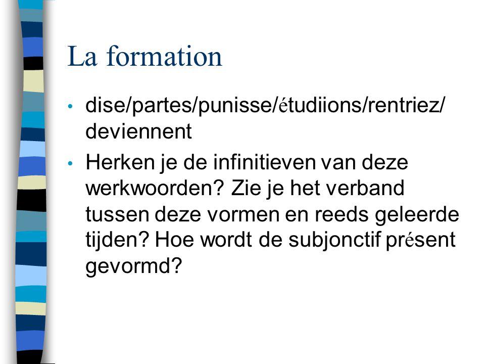La formation dise/partes/punisse/ é tudiions/rentriez/ deviennent Herken je de infinitieven van deze werkwoorden.