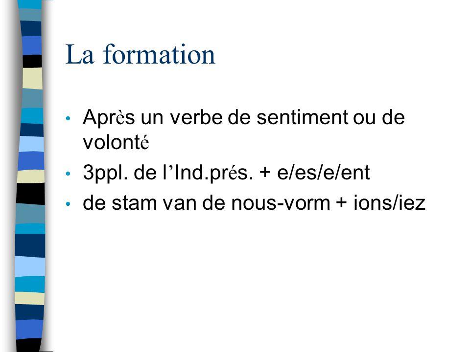 La formation Apr è s un verbe de sentiment ou de volont é 3ppl.