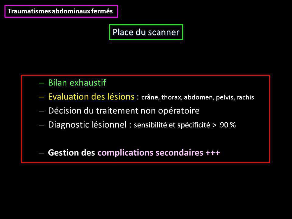 – Bilan exhaustif – Evaluation des lésions : crâne, thorax, abdomen, pelvis, rachis – Décision du traitement non opératoire – Diagnostic lésionnel : s