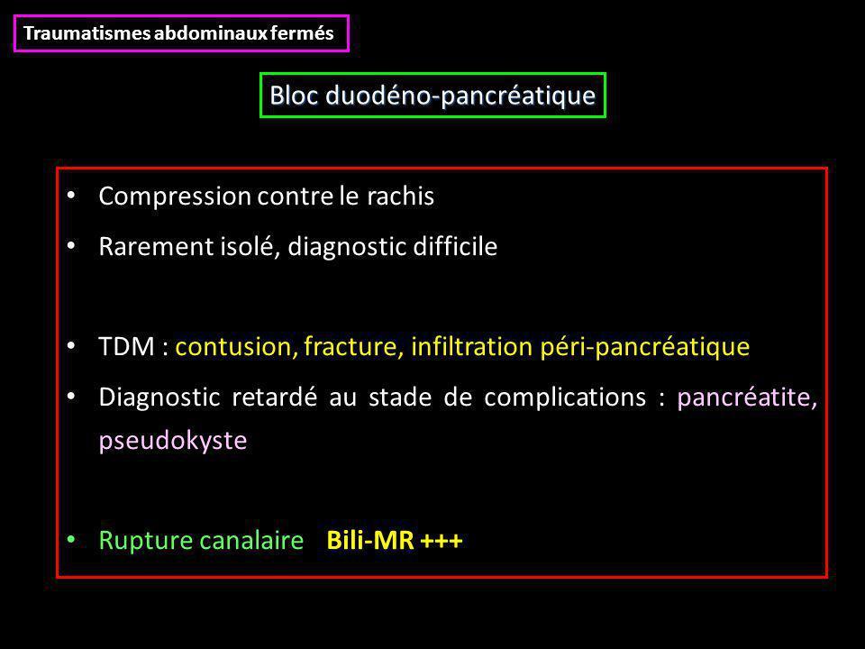 Compression contre le rachis Rarement isolé, diagnostic difficile TDM : contusion, fracture, infiltration péri-pancréatique Diagnostic retardé au stad