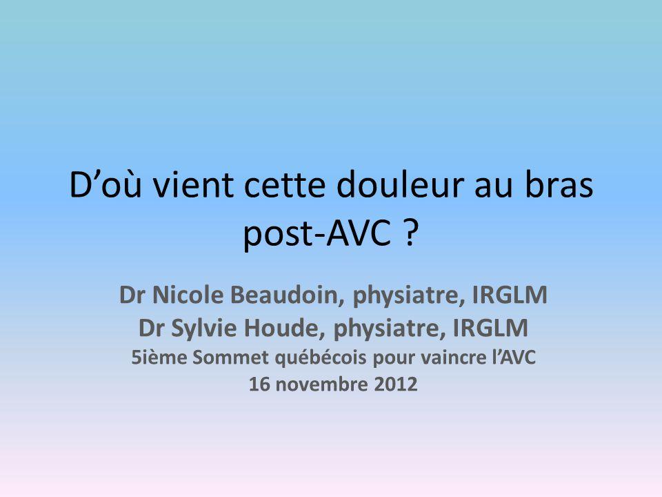 D'où vient cette douleur au bras post-AVC ? Dr Nicole Beaudoin, physiatre, IRGLM Dr Sylvie Houde, physiatre, IRGLM 5ième Sommet québécois pour vaincre