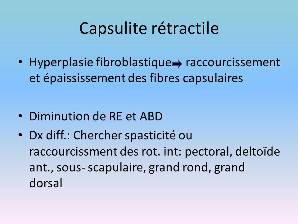 Capsulite rétractile Hyperplasie fibroblastique raccourcissement et épaississement des fibres capsulaires Diminution de RE et ABD Dx diff.: Chercher s