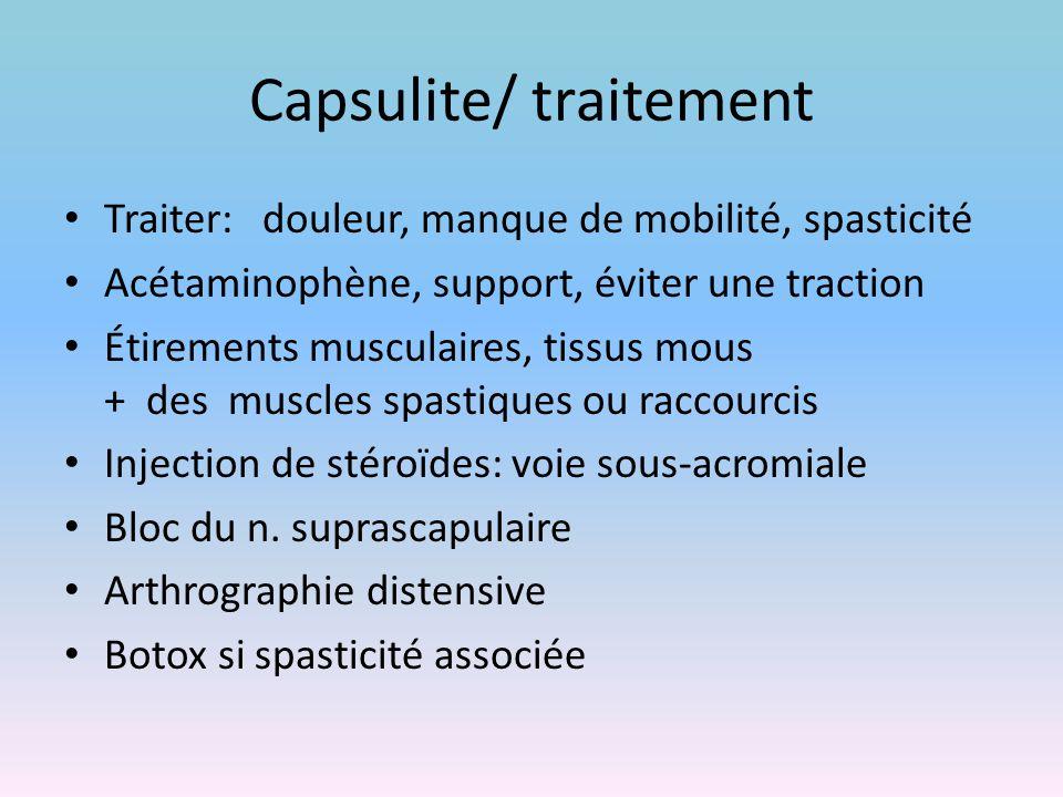 Capsulite/ traitement Traiter: douleur, manque de mobilité, spasticité Acétaminophène, support, éviter une traction Étirements musculaires, tissus mou