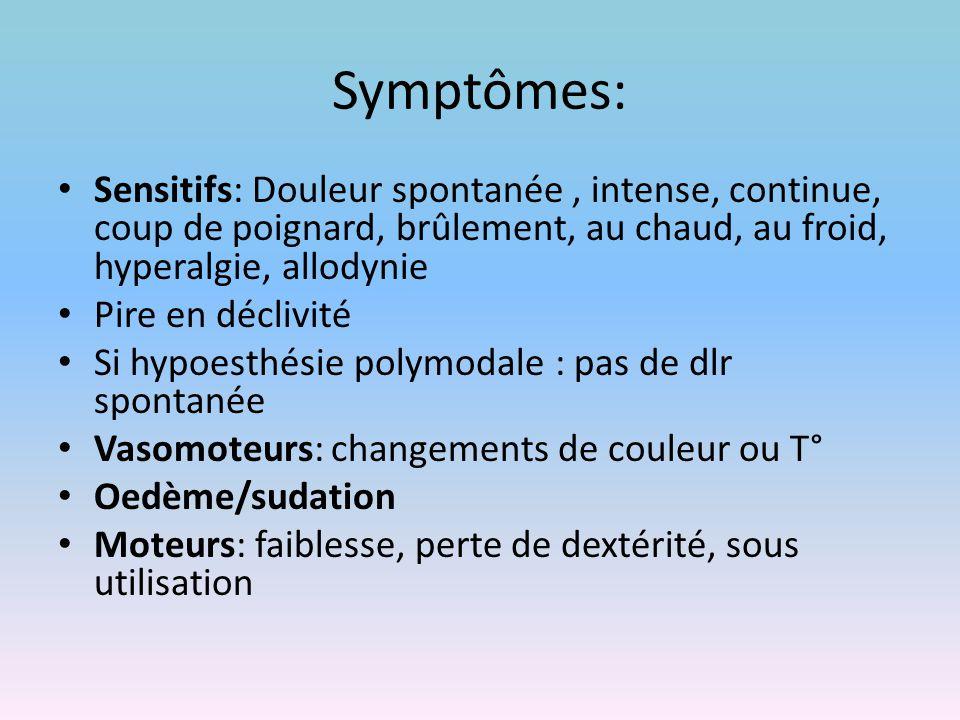 Symptômes: Sensitifs: Douleur spontanée, intense, continue, coup de poignard, brûlement, au chaud, au froid, hyperalgie, allodynie Pire en déclivité S