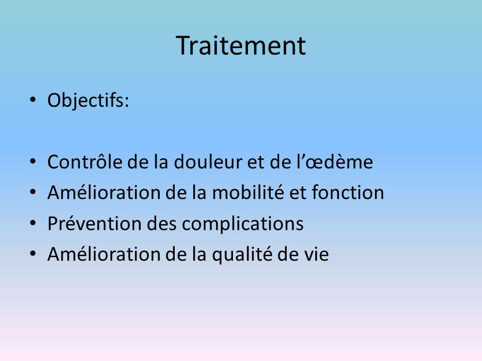 Traitement Objectifs: Contrôle de la douleur et de l'œdème Amélioration de la mobilité et fonction Prévention des complications Amélioration de la qua