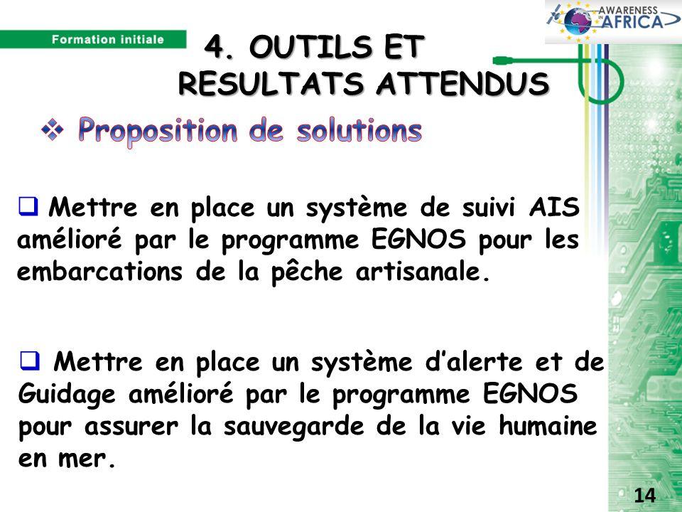  Mettre en place un système de suivi AIS amélioré par le programme EGNOS pour les embarcations de la pêche artisanale.  Mettre en place un système d