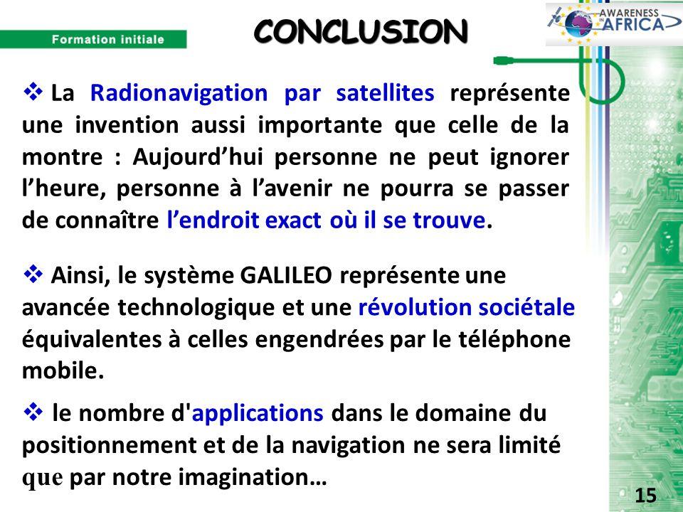CONCLUSION CONCLUSION  le nombre d'applications dans le domaine du positionnement et de la navigation ne sera limité que par notre imagination…  La