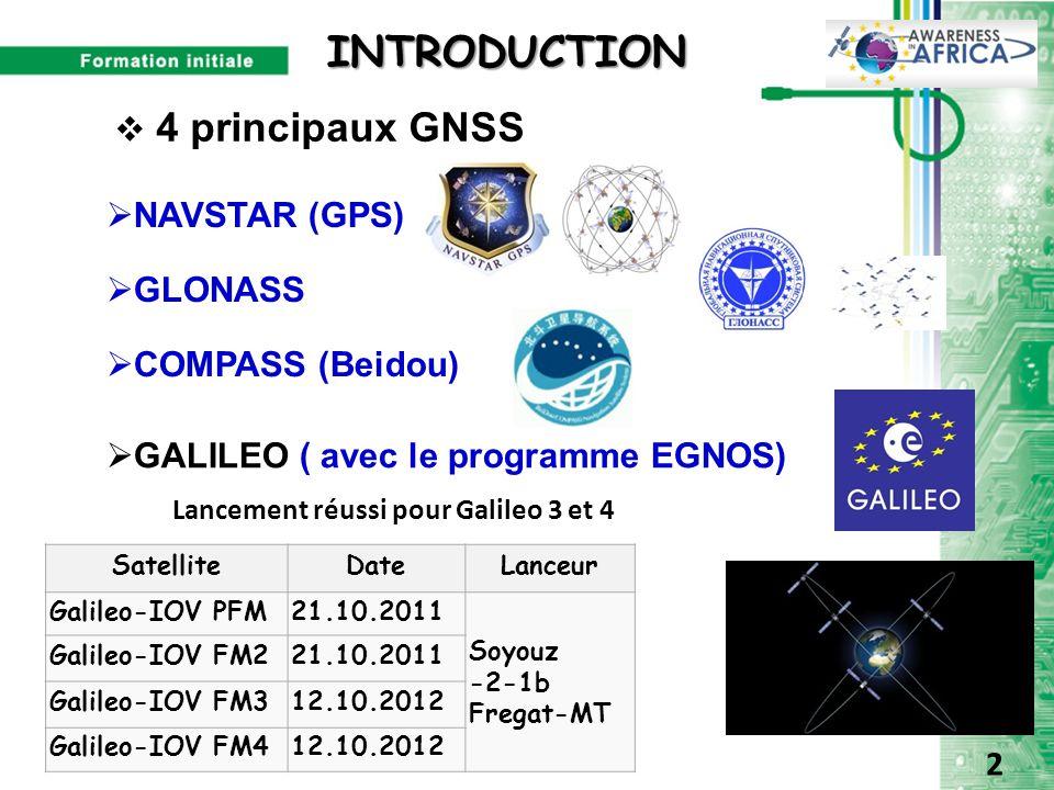 INTRODUCTION  4 principaux GNSS  NAVSTAR (GPS)  GLONASS  GALILEO ( avec le programme EGNOS)  COMPASS (Beidou) Lancement réussi pour Galileo 3 et