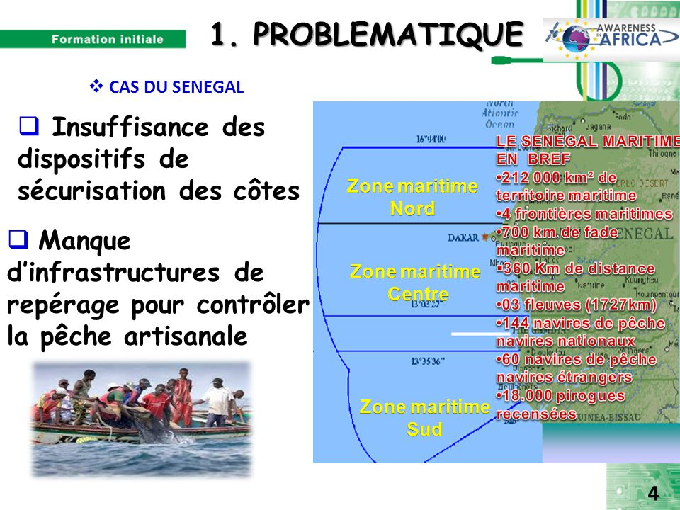  Insuffisance des dispositifs de sécurisation des côtes  Manque d'infrastructures de repérage pour contrôler la pêche artisanale 1. PROBLEMATIQUE 1.