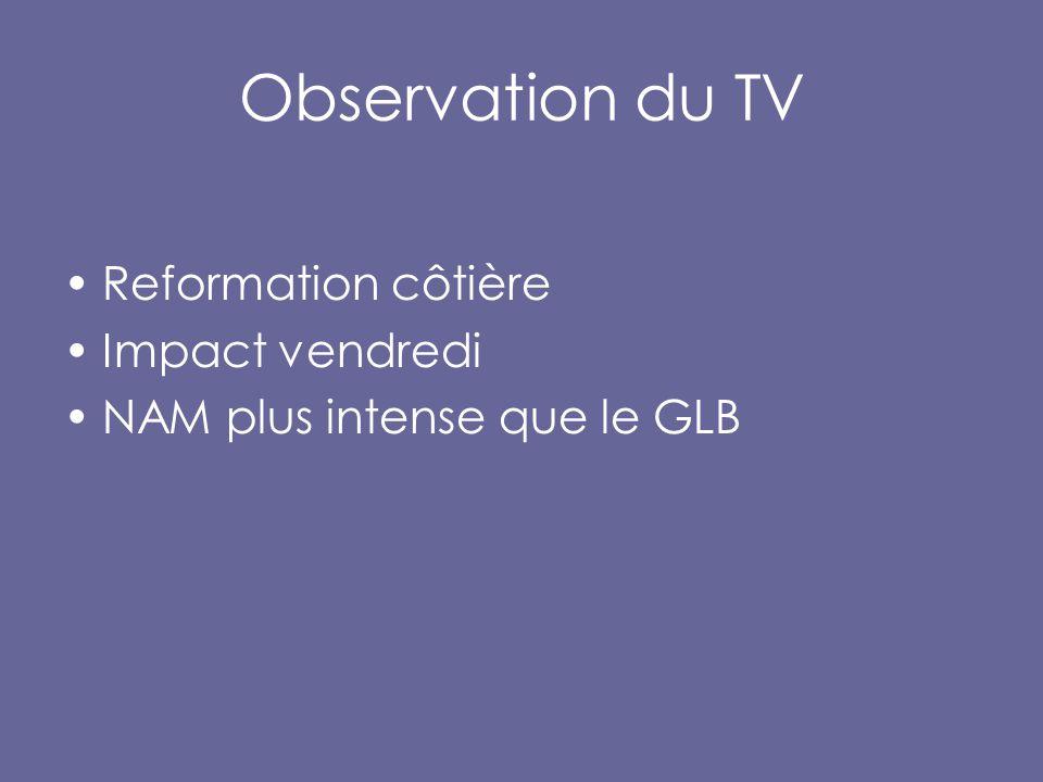 Observation du TV Reformation côtière Impact vendredi NAM plus intense que le GLB