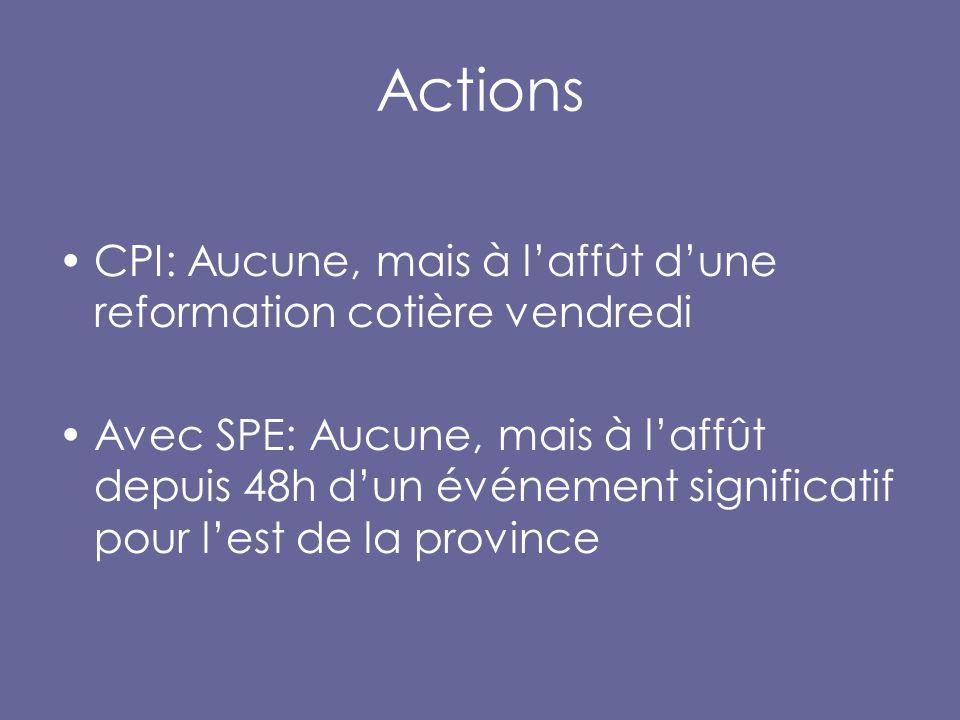 Actions CPI: Aucune, mais à l'affût d'une reformation cotière vendredi Avec SPE: Aucune, mais à l'affût depuis 48h d'un événement significatif pour l'est de la province
