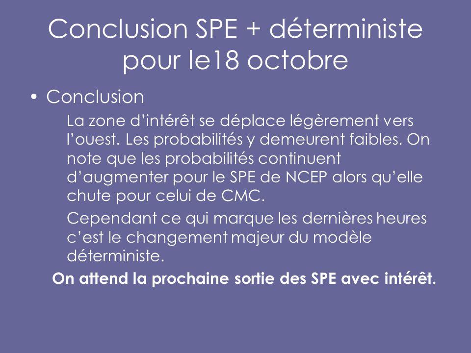 Conclusion SPE + déterministe pour le18 octobre Conclusion La zone d'intérêt se déplace légèrement vers l'ouest.