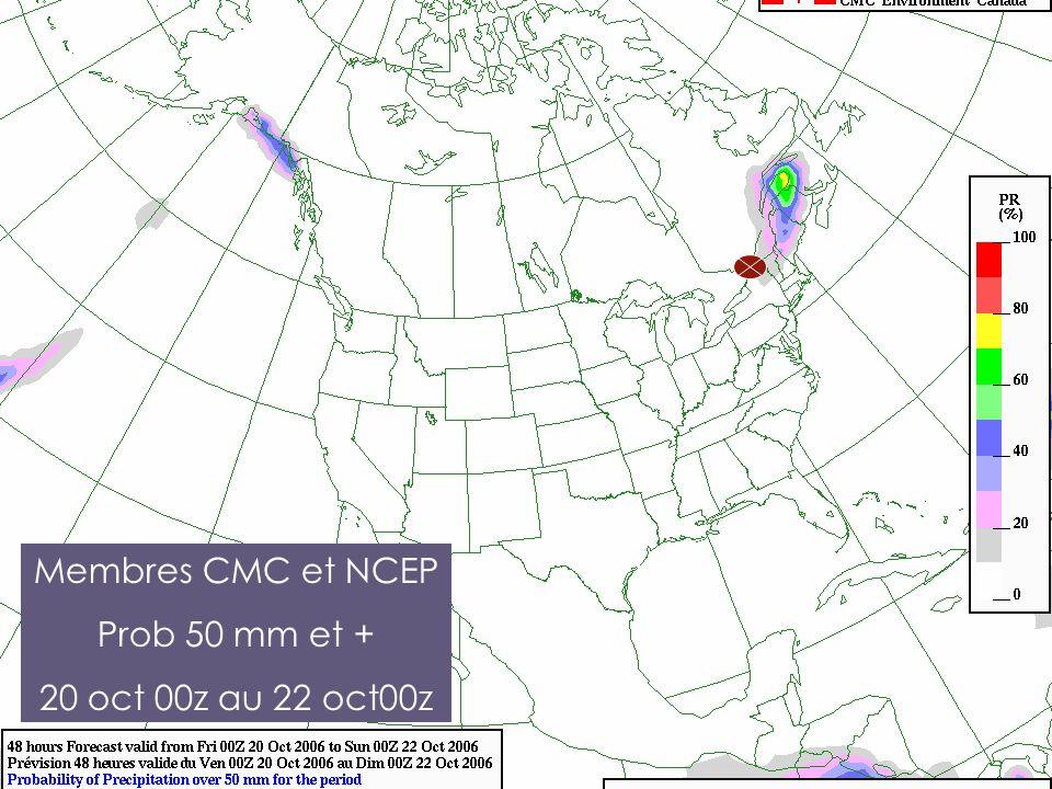 Membres CMC et NCEP Prob 50 mm et + 20 oct 00z au 22 oct00z