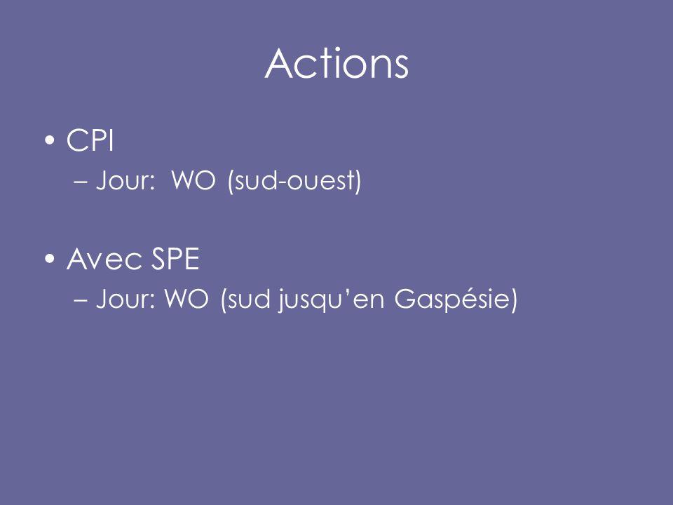 Actions CPI –Jour: WO (sud-ouest) Avec SPE –Jour: WO (sud jusqu'en Gaspésie)