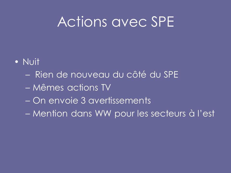 Actions avec SPE Nuit – Rien de nouveau du côté du SPE –Mêmes actions TV –On envoie 3 avertissements –Mention dans WW pour les secteurs à l'est