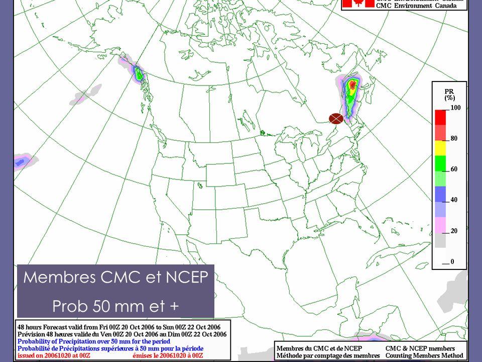 Membres CMC et NCEP Prob 50 mm et +