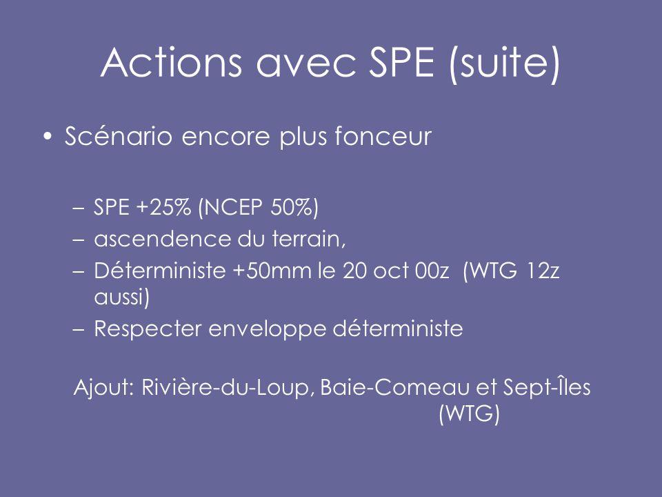 Actions avec SPE (suite) Scénario encore plus fonceur –SPE +25% (NCEP 50%) –ascendence du terrain, –Déterministe +50mm le 20 oct 00z (WTG 12z aussi) –Respecter enveloppe déterministe Ajout: Rivière-du-Loup, Baie-Comeau et Sept-Îles (WTG)