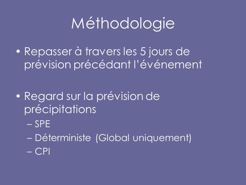 Méthodologie Repasser à travers les 5 jours de prévision précédant l'événement Regard sur la prévision de précipitations –SPE –Déterministe (Global uniquement) –CPI