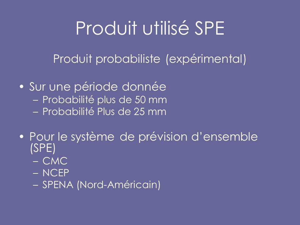 Produit utilisé SPE Produit probabiliste (expérimental) Sur une période donnée –Probabilité plus de 50 mm –Probabilité Plus de 25 mm Pour le système de prévision d'ensemble (SPE) –CMC –NCEP –SPENA (Nord-Américain)