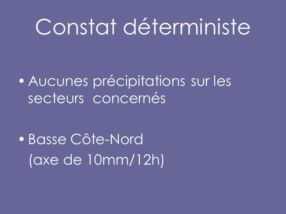 Constat déterministe Aucunes précipitations sur les secteurs concernés Basse Côte-Nord (axe de 10mm/12h)