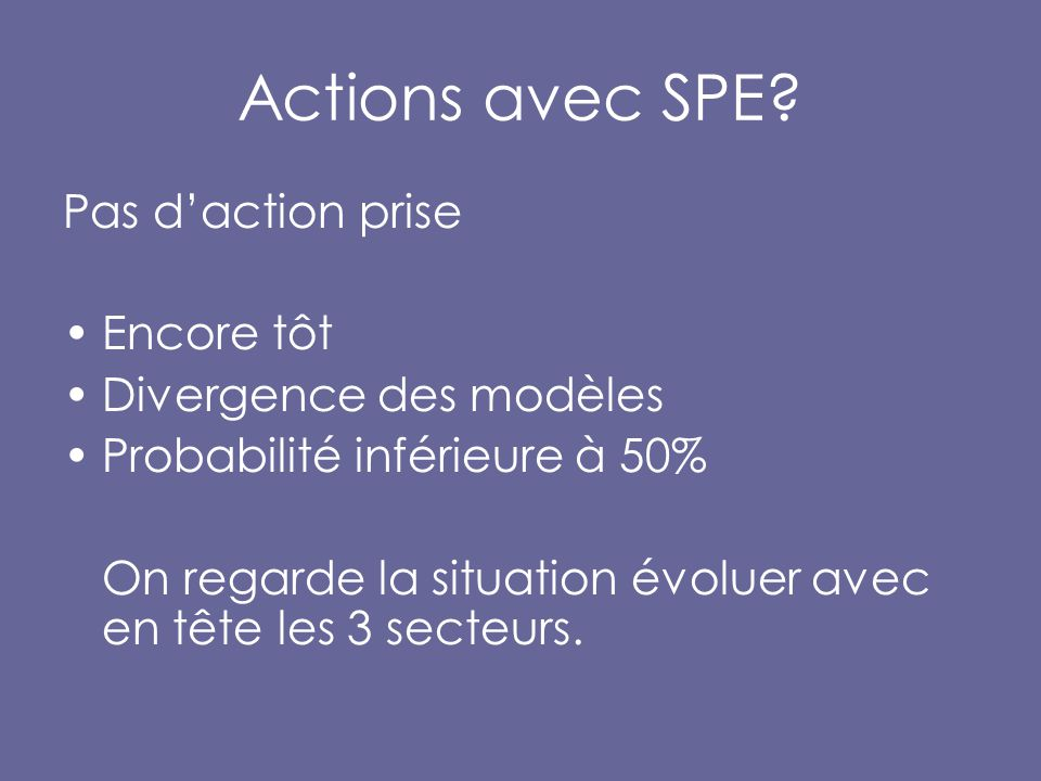 Actions avec SPE.