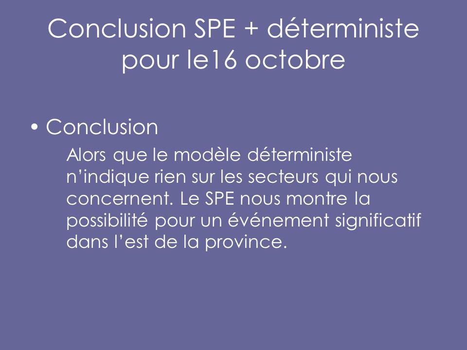 Conclusion SPE + déterministe pour le16 octobre Conclusion Alors que le modèle déterministe n'indique rien sur les secteurs qui nous concernent.