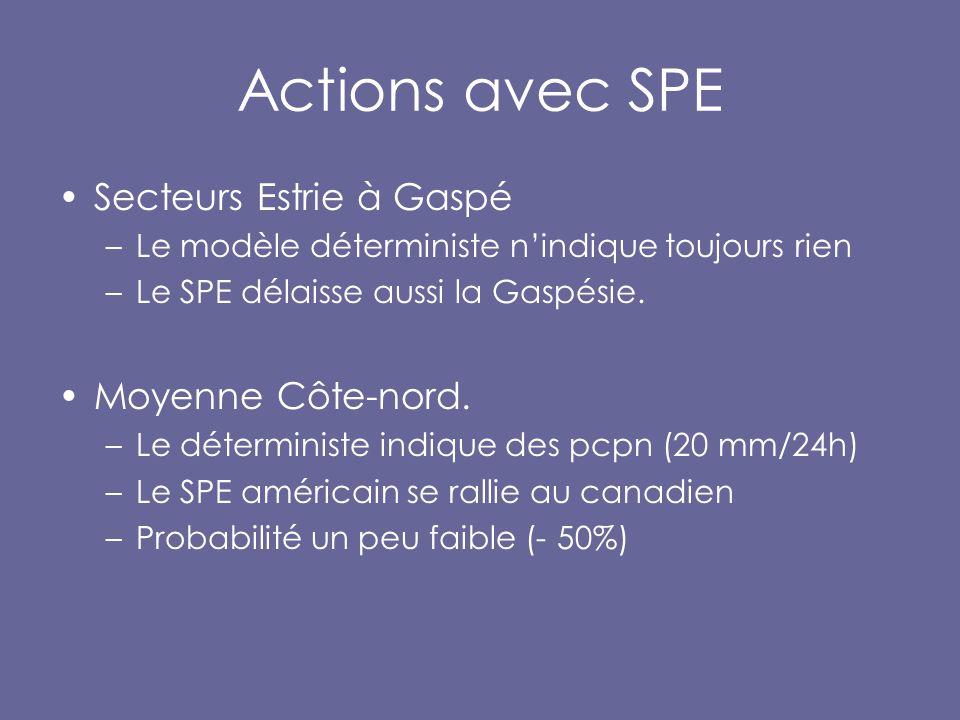 Actions avec SPE Secteurs Estrie à Gaspé –Le modèle déterministe n'indique toujours rien –Le SPE délaisse aussi la Gaspésie.