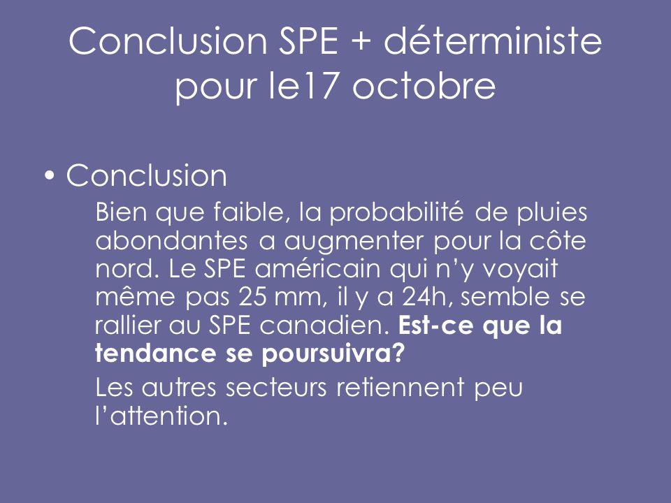 Conclusion SPE + déterministe pour le17 octobre Conclusion Bien que faible, la probabilité de pluies abondantes a augmenter pour la côte nord.