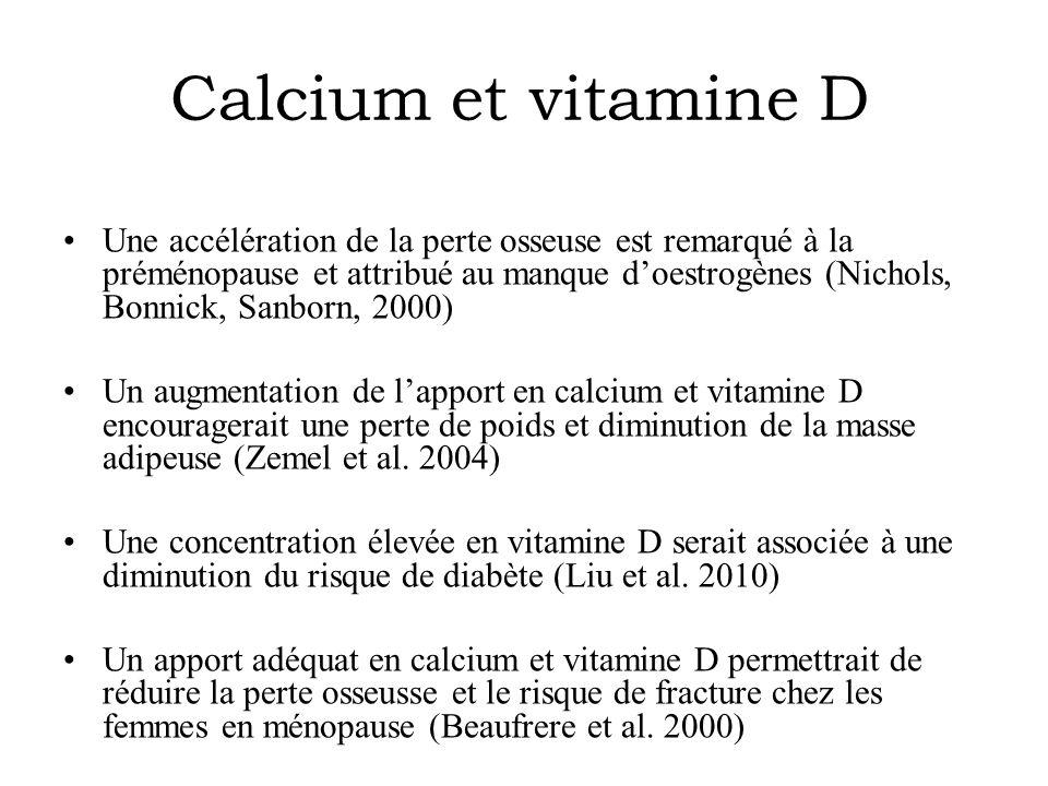 Calcium et vitamine D Une accélération de la perte osseuse est remarqué à la préménopause et attribué au manque d'oestrogènes (Nichols, Bonnick, Sanbo