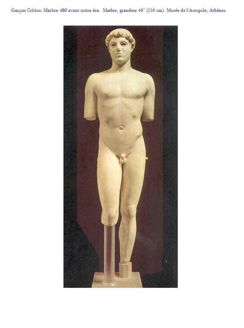 Gar çon Critios: Marbre 480 avant notre ère. Marbre, grandeur 46