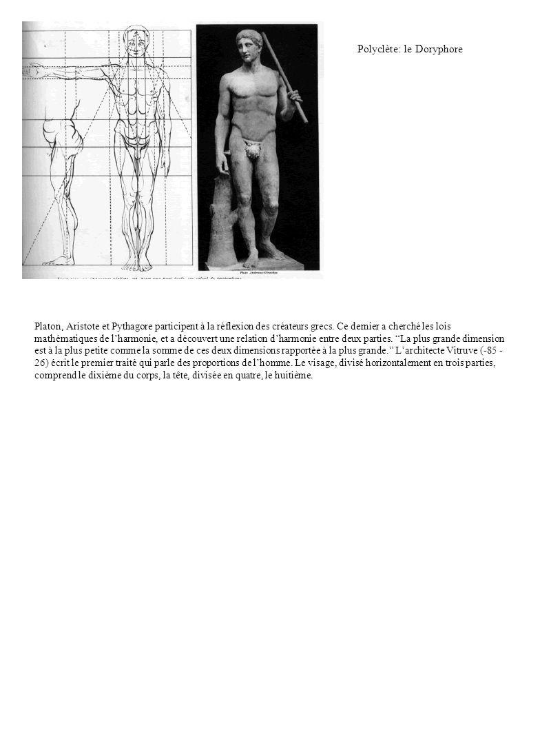 Polyclète: le Doryphore Platon, Aristote et Pythagore participent à la réflexion des créateurs grecs. Ce dernier a cherché les lois mathématiques de l