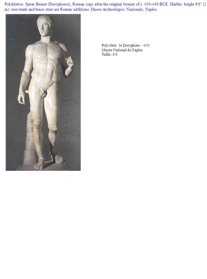 Polykleitos. Spear Bearer (Doryphoros), Roman copy after the original bronze of c. 450–440 BCE. Marble, height 6'6