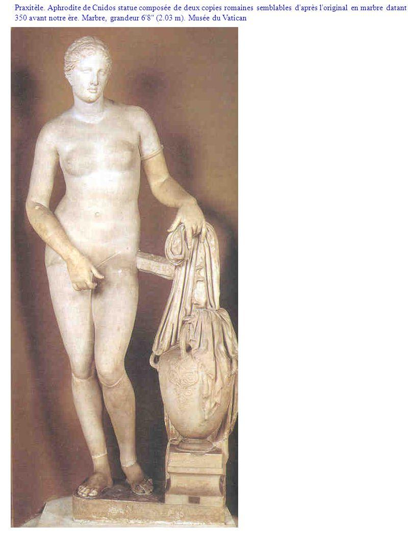 Praxitèle. Aphrodite de Cnidos statue composée de deux copies romaines semblables d'après l'original en marbre datant de 350 avant notre ère. Marbre,