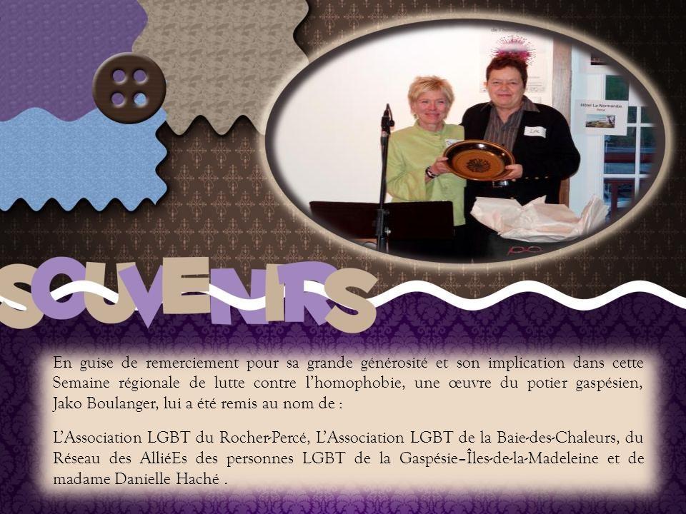 Soulignons la généreuse et stimulante participation, à plusieurs de ces activités, de Madame Line Chamberland, titulaire de la Chaire de recherche sur l homophobie, directrice de l équipe de recherche Les jeunes de minorités sexuelles et professeure au Département de sexologie de l'UQAM.