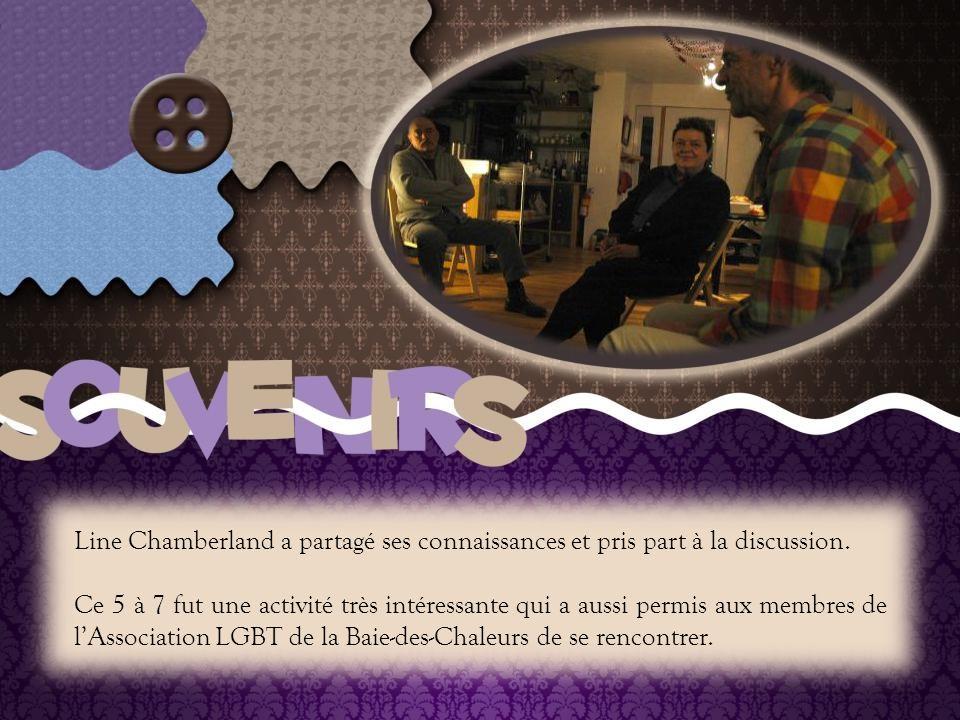 Le 5 à 7 de l'Association LGBT de la Baie-des-Chaleurs sous le thème : De l'égalité juridique à l'égalité sociale pour les personnes de minorités sexuelles : où en sommes-nous au Québec