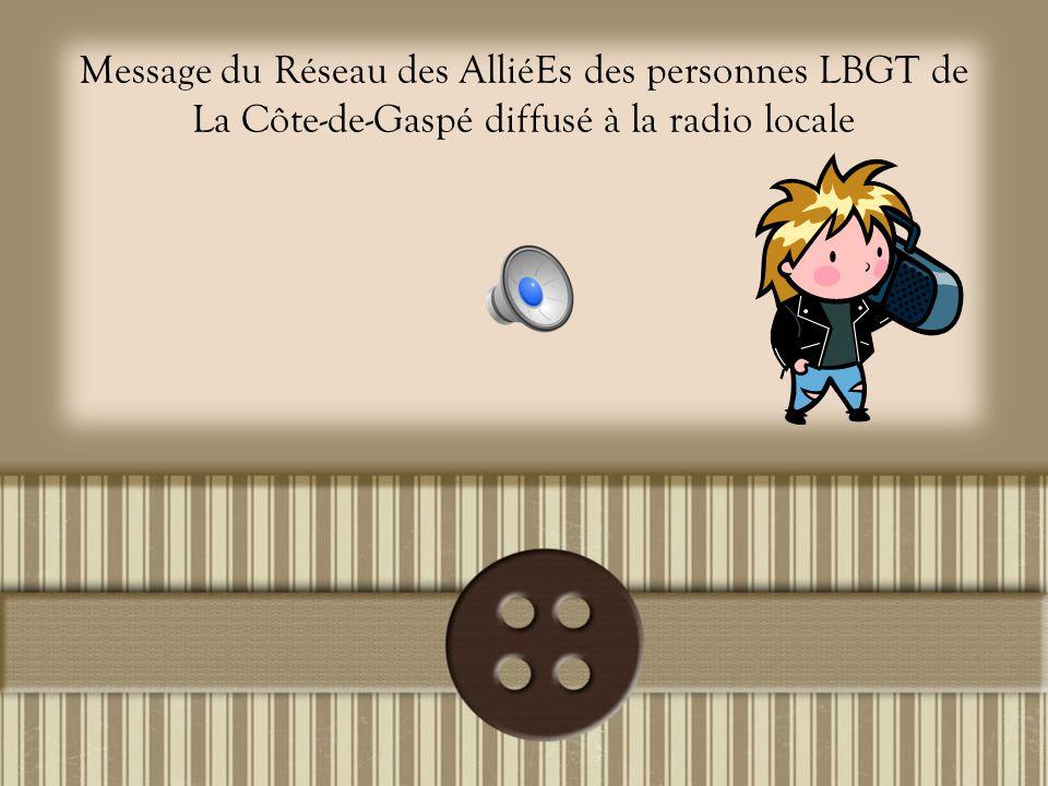 Article du Réseau des AlliéEs des personnes LGBT de La Côte-de-Gaspé
