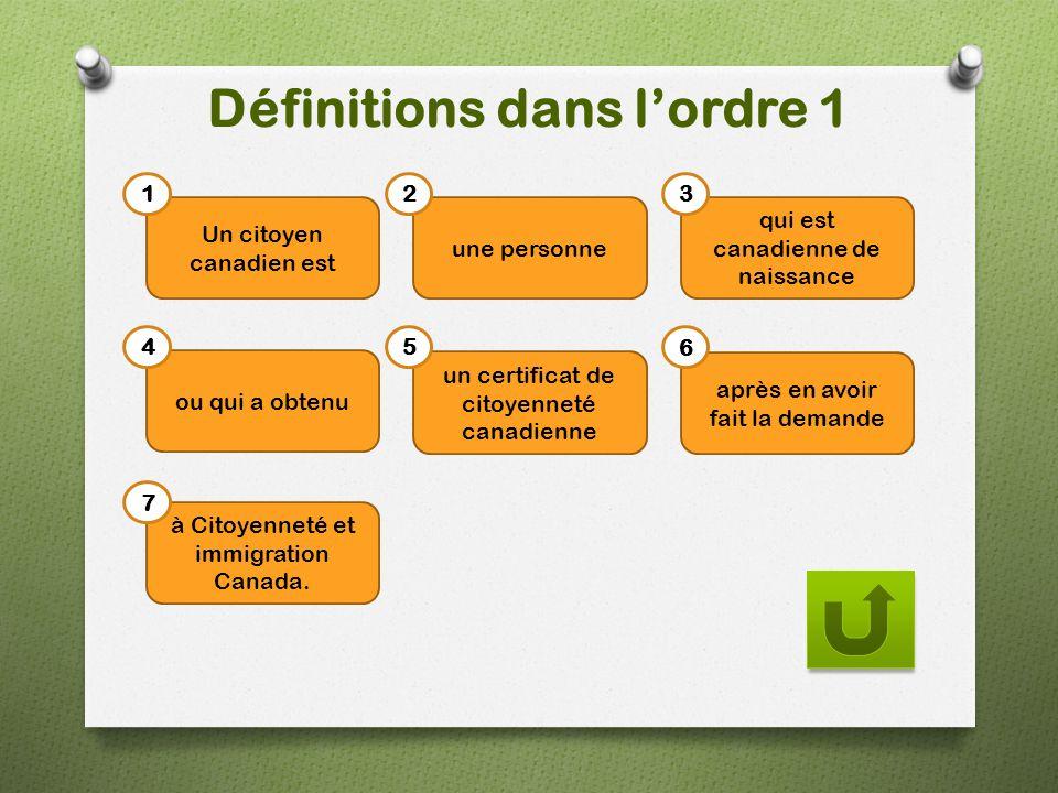Définitions dans l'ordre 1 Un citoyen canadien est une personne qui est canadienne de naissance ou qui a obtenu un certificat de citoyenneté canadienn