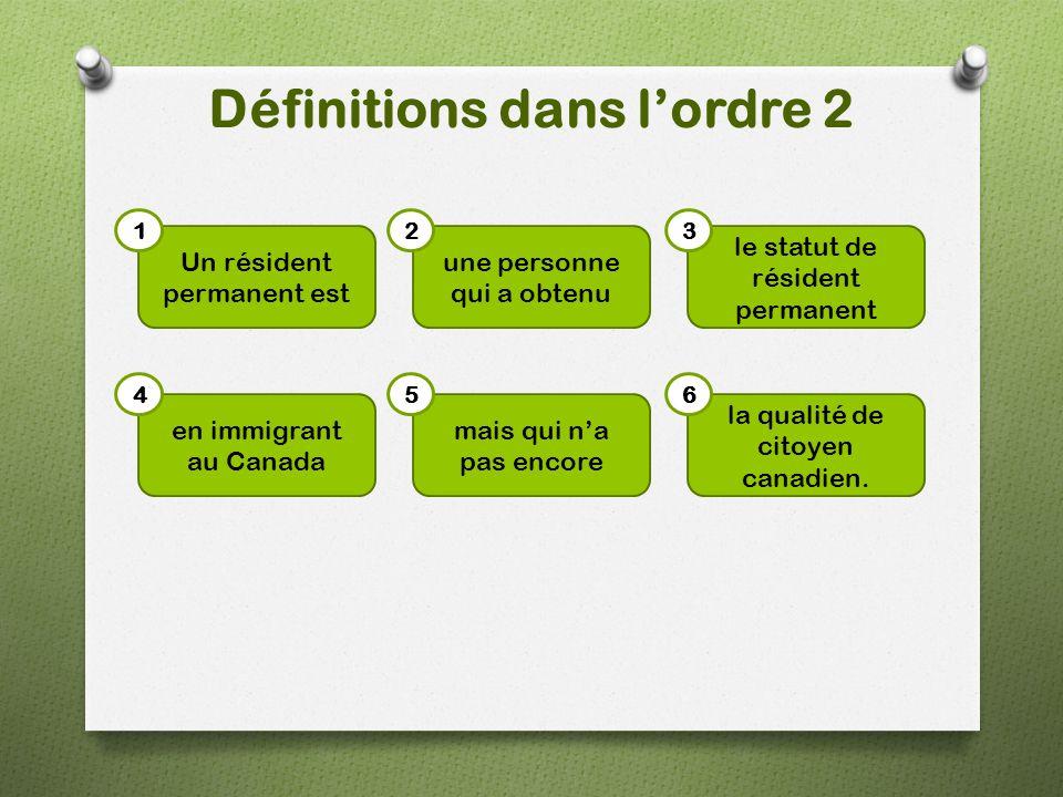 Définitions dans l'ordre 2 Un résident permanent est le statut de résident permanent une personne qui a obtenu mais qui n'a pas encore en immigrant au