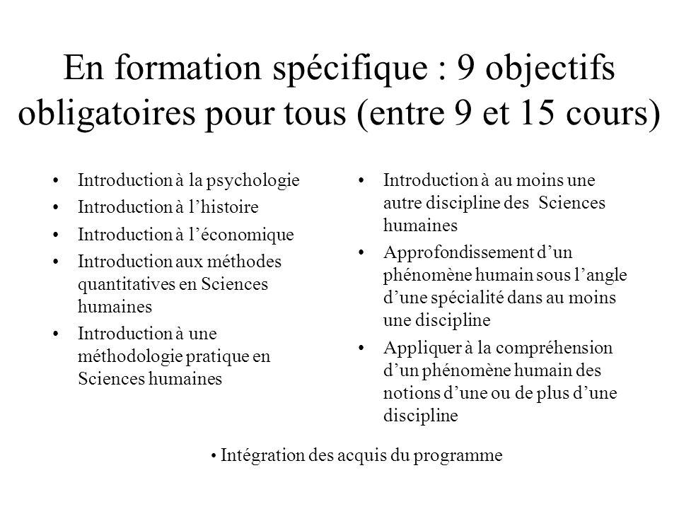 En formation spécifique : 9 objectifs obligatoires pour tous (entre 9 et 15 cours) Introduction à la psychologie Introduction à l'histoire Introductio