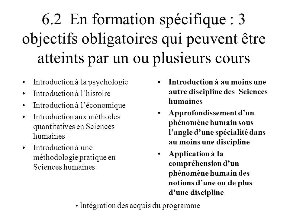 6.2 En formation spécifique : 3 objectifs obligatoires qui peuvent être atteints par un ou plusieurs cours Introduction à la psychologie Introduction