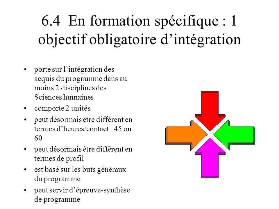 6.4 En formation spécifique : 1 objectif obligatoire d'intégration porte sur l'intégration des acquis du programme dans au moins 2 disciplines des Sci