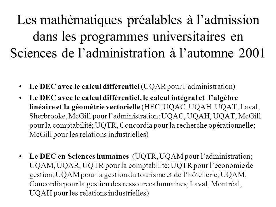 Les mathématiques préalables à l'admission dans les programmes universitaires en Sciences de l'administration à l'automne 2001 Le DEC avec le calcul différentiel (UQAR pour l'administration) Le DEC avec le calcul différentiel, le calcul intégral et l'algèbre linéaire et la géométrie vectorielle (HEC, UQAC, UQAH, UQAT, Laval, Sherbrooke, McGill pour l'administration; UQAC, UQAH, UQAT, McGill pour la comptabilité; UQTR, Concordia pour la recherche opérationnelle; McGill pour les relations industrielles) Le DEC en Sciences humaines (UQTR, UQAM pour l'administration; UQAM, UQAR, UQTR pour la comptabilité; UQTR pour l'économie de gestion; UQAM pour la gestion du tourisme et de l'hôtellerie; UQAM, Concordia pour la gestion des ressources humaines; Laval, Montréal, UQAH pour les relations industrielles)