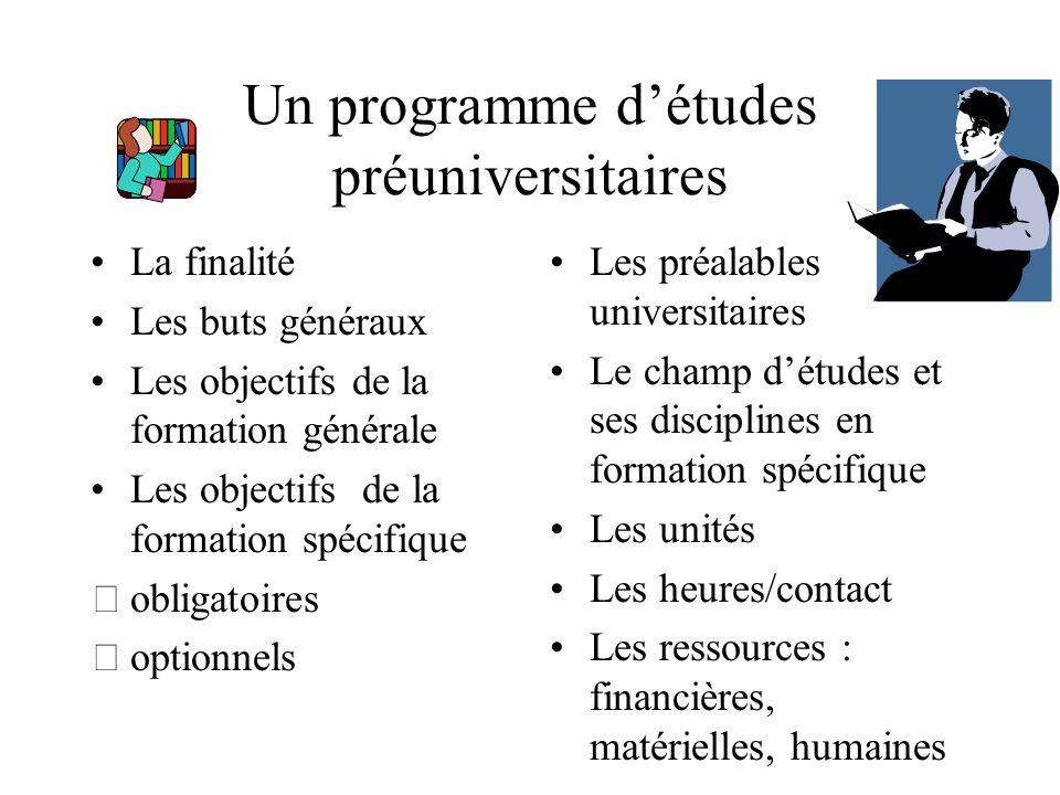 Un programme d'études préuniversitaires La finalité Les buts généraux Les objectifs de la formation générale Les objectifs de la formation spécifique