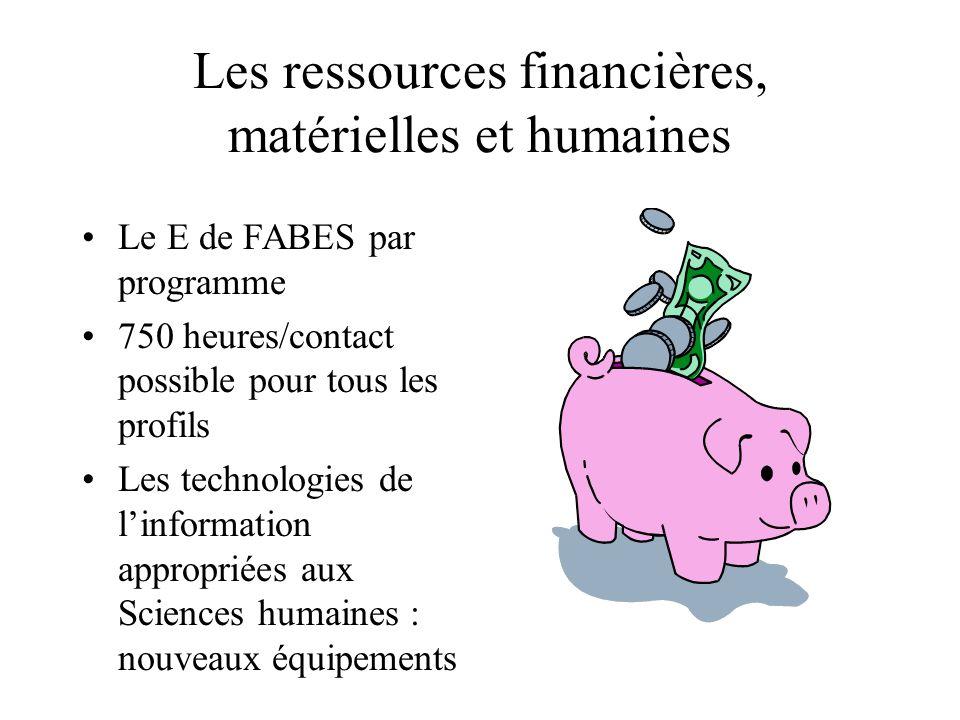 Les ressources financières, matérielles et humaines Le E de FABES par programme 750 heures/contact possible pour tous les profils Les technologies de l'information appropriées aux Sciences humaines : nouveaux équipements